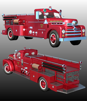 SEAGRAVE 1955 ( Poser and .obj ) 3D Models Nationale7