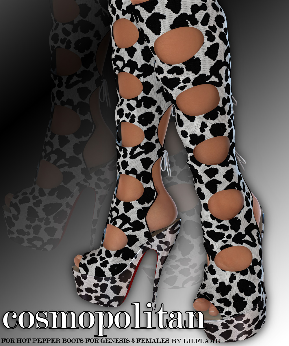 COSMOPOLITAN - Hot Pepper Boots for Genesis 3 Females