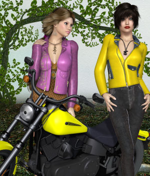 DA-BikerGirl for Exnem Leather Jacket 3D Figure Assets DarkAngelGrafics