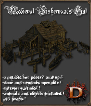 Medieval Fisherman's Hut 3D Models Dante78