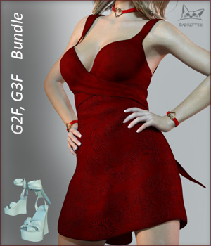 Shimmery Shoes and Dress G2F and G3F Bundle 3D Figure Essentials BadKittehCo