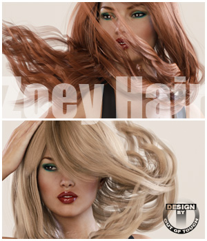 Zoey Hair V4, G2F, G3F 3D Figure Essentials outoftouch