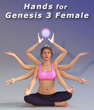 Hands for Genesis 3 Female 3D Figure Assets LeoLee