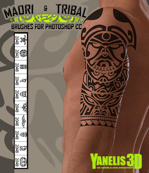 JLL Maori and Tribal Brushes for Photoshop CC 2D Yanelis3D