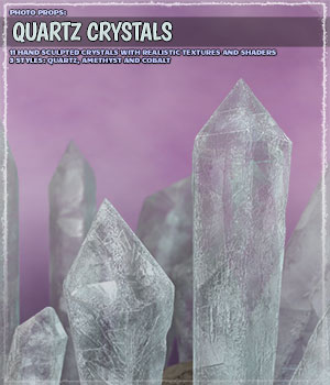 Photo Props: Quartz Crystals 3D Models ShaaraMuse3D