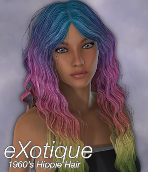 eXotique 1960's Hippie Hair 3D Figure Assets Anagord