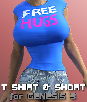 Tshirt & Short for G3 female(s) V7 3D Figure Assets powerage
