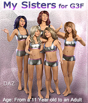 MY SISTERS for G3F - Full Custom Body Morphs 3D Figure Assets Mar3D
