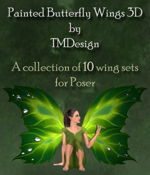 Painted Butterfly Wings 3D Figure Essentials 3D Models TMDesign