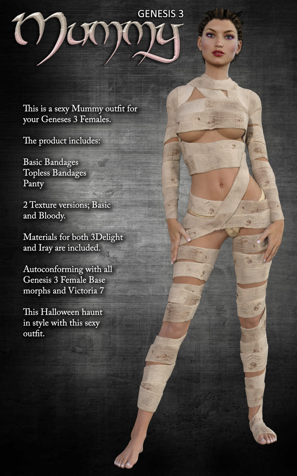 Exnem Mummy Outfit For G3 3D Figure Assets Exnem-2428