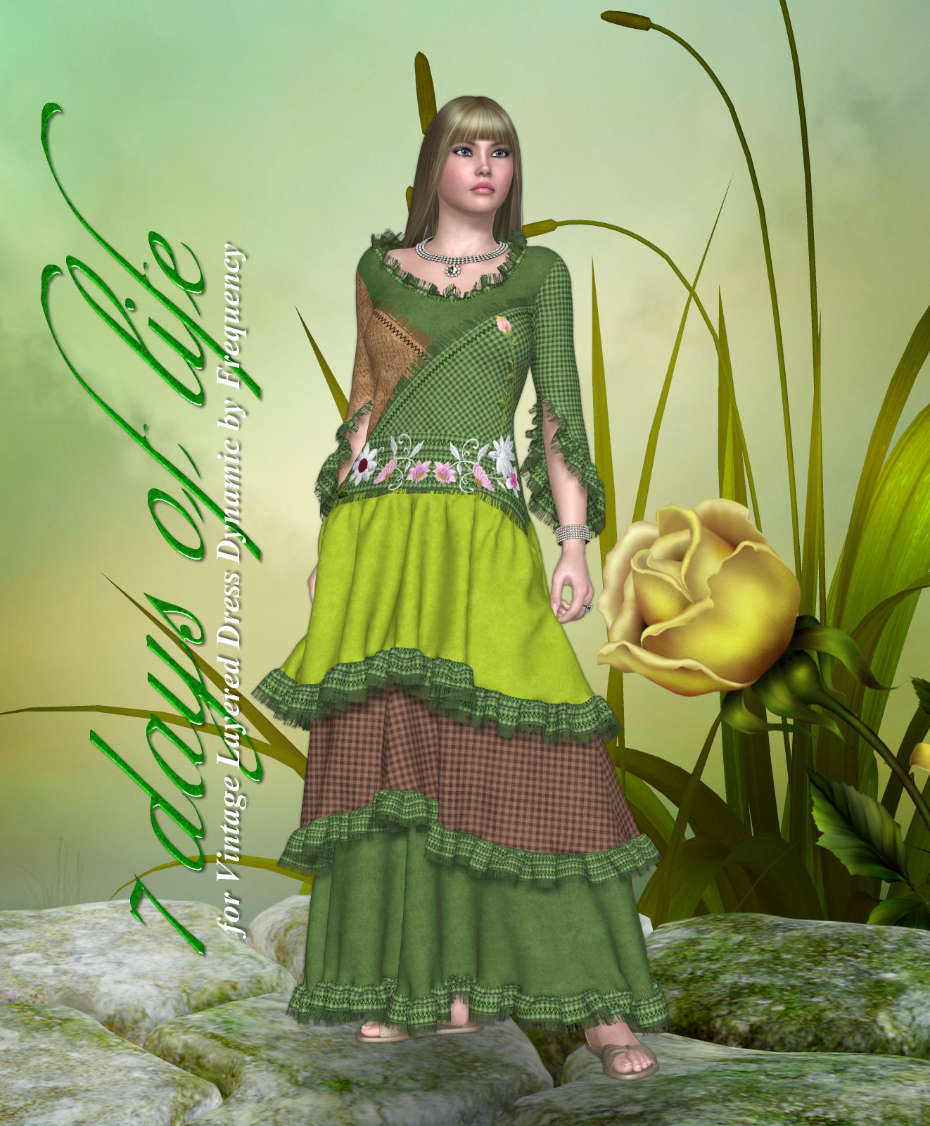 DA-7 Days of life for Vintage Layered Dress Dynamic by Frequency