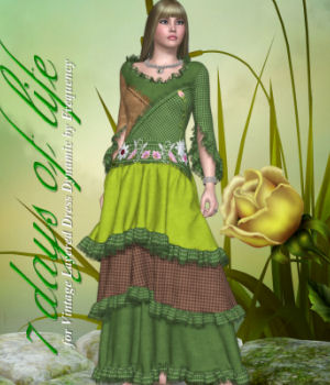 DA-7 Days of life for Vintage Layered Dress Dynamic by Frequency 3D Figure Essentials DarkAngelGrafics
