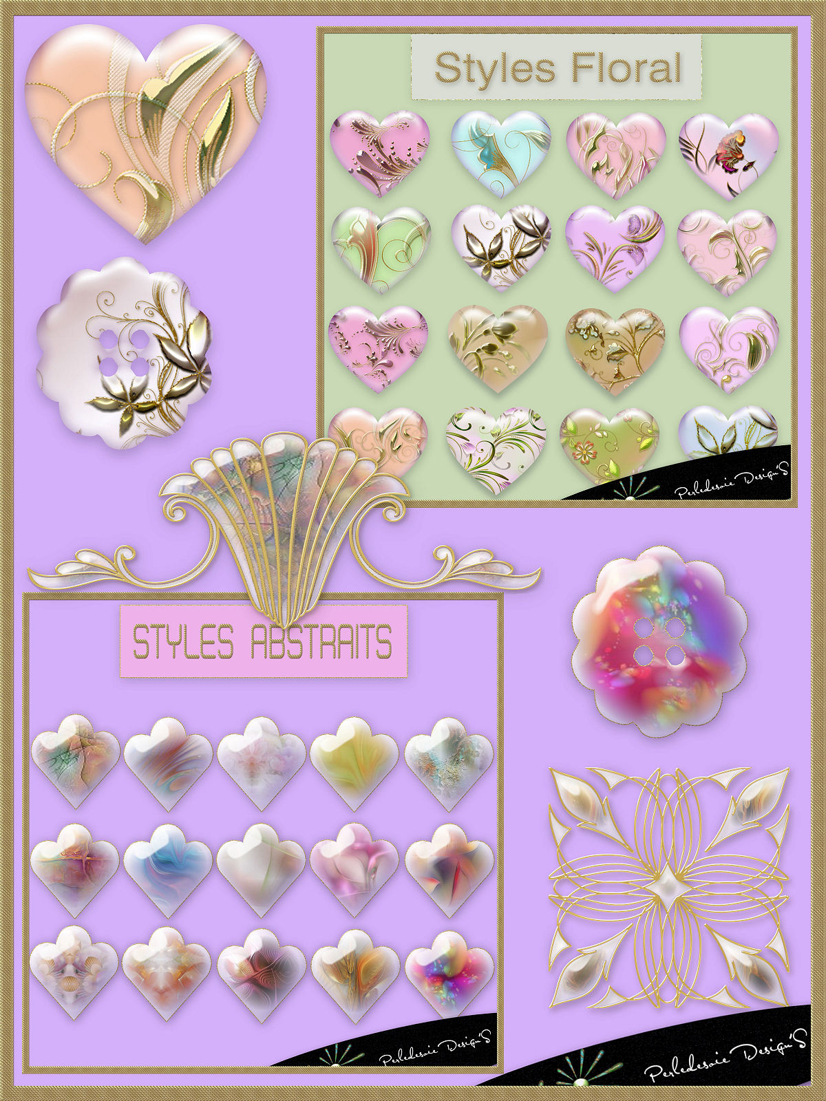 Pack styles abstrait et floral by Perledesoie