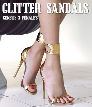 Glitter Sandals for Genesis 3 Females 3D Figure Assets lilflame
