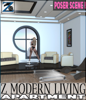 Z Modern Living Apartment + Poses - Poser 3D Figure Assets 3D Models Zeddicuss