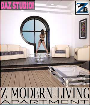 Z Modern Living Apartment + Poses - Daz Studio 3D Figure Essentials 3D Models Zeddicuss
