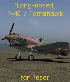 'Long-nosed' P-40 Tomahawk for Poser 3D Models andreasgr