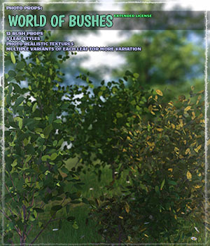 Photo Plants: World of Bushes - Extended License 3D Models Gaming Extended Licenses ShaaraMuse3D