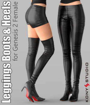 Leggings Boots & Heels for G2F 3D Figure Assets kony