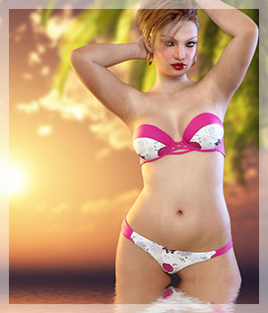 Summerbreak for Bandeau Bikini 3D Figure Assets Belladzines