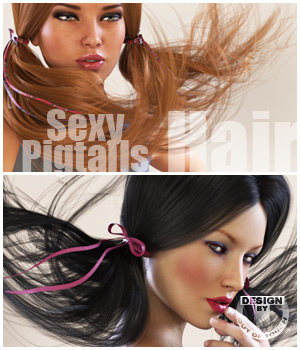 Sexy Pigtails Hair V4, G2F, G3F 3D Figure Essentials outoftouch