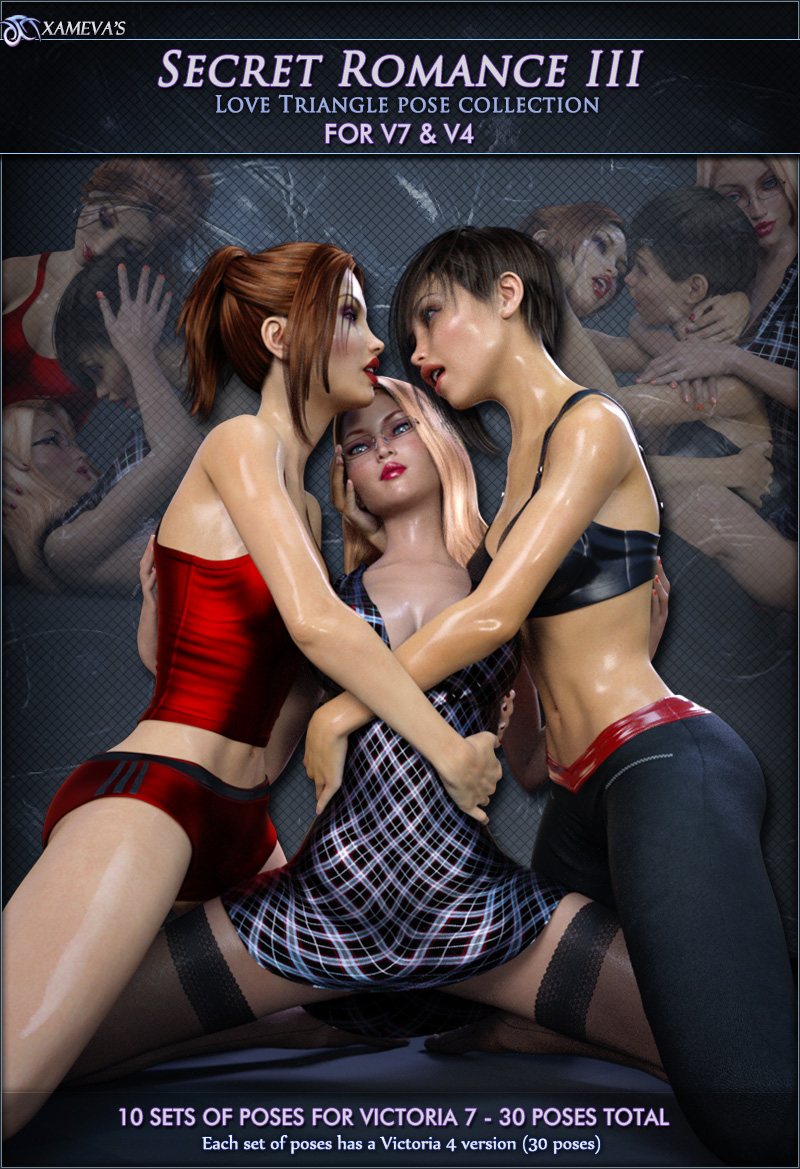 Cg 3d Lesbians - Secret Romance 3 - Love Triangle Poses for V7 and V4