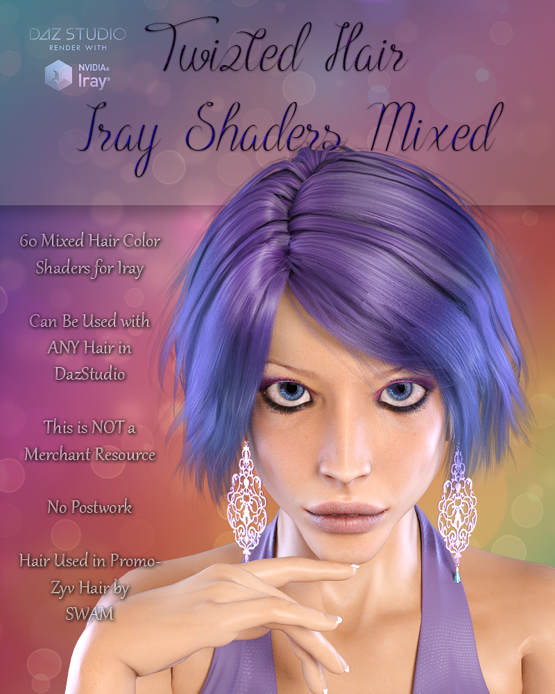 Twizted Hair Iray Shaders Mixed by TwiztedMetal