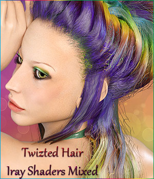 Twizted Hair Iray Shaders Mixed 3D Figure Assets TwiztedMetal
