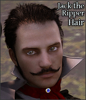 Jack The Ripper Hat, Hair & Mustache G2M 3D Figure Assets RPublishing