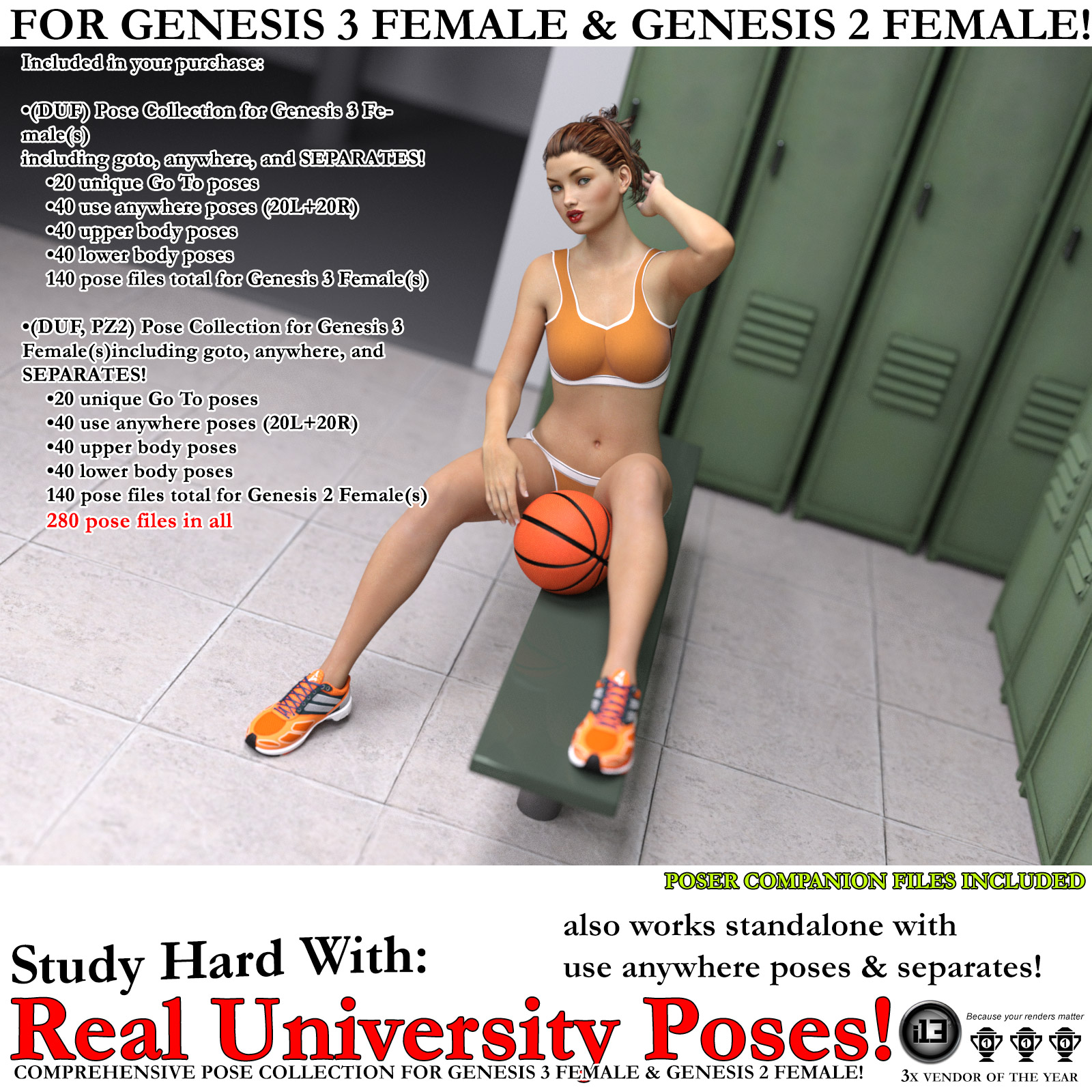 i13 Real University Poses for G3F/G2F