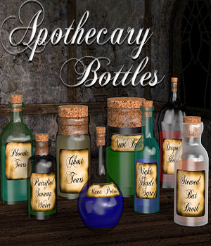 Apothecary Bottles 3D Models showell7