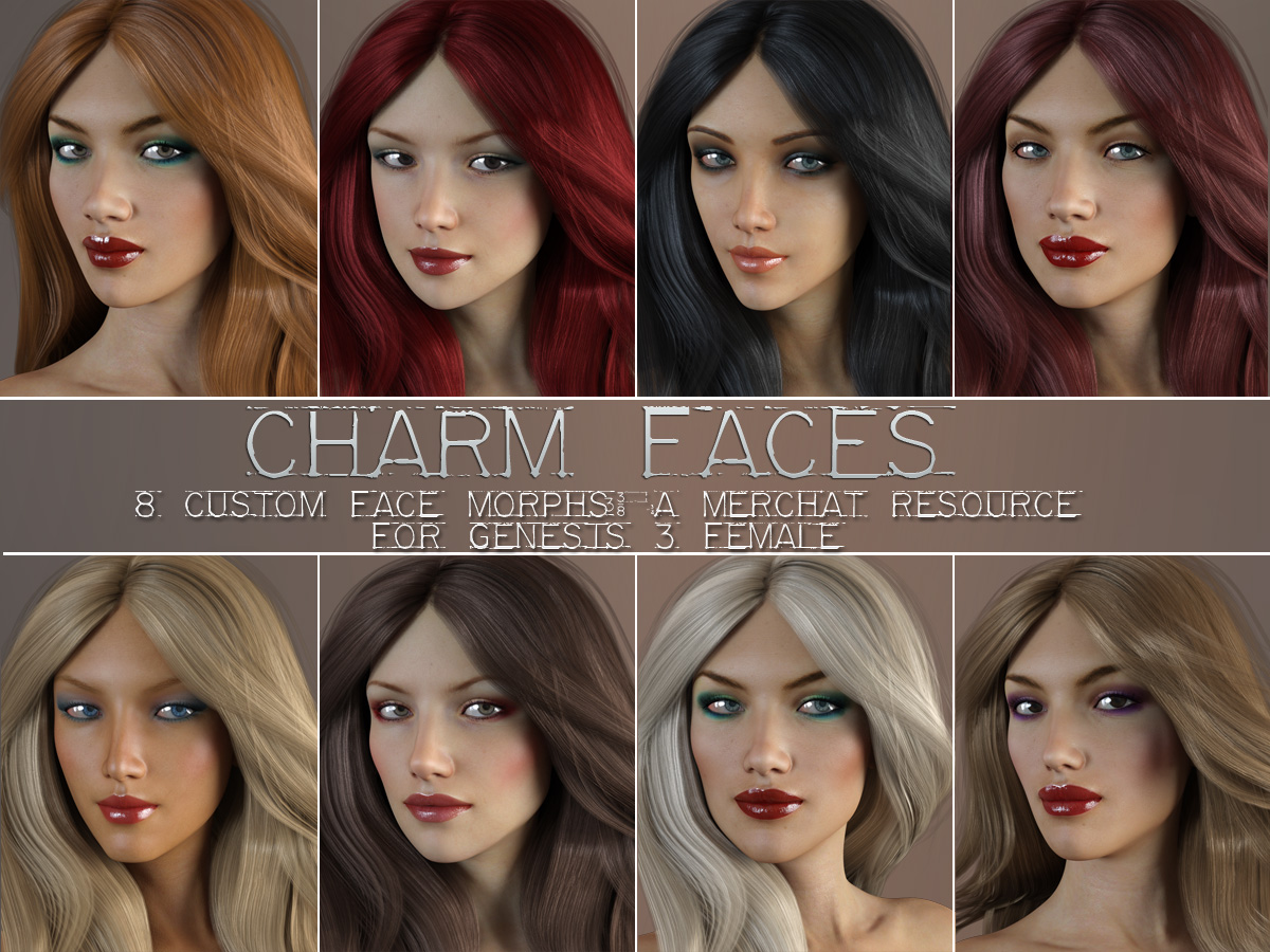 Charm Faces for Genesis 3 Female by lilflame