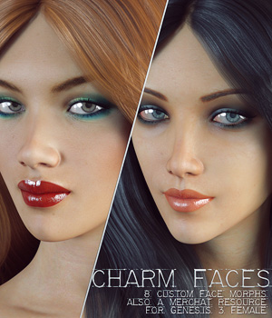 Charm Faces for Genesis 3 Female 3D Figure Essentials Merchant Resources lilflame