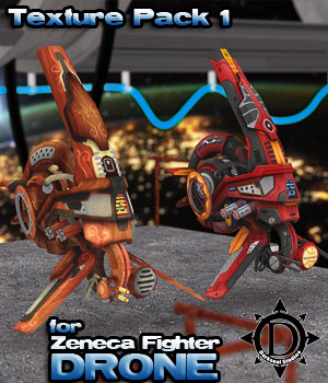 Zeneca Fighter Drone Texture Pack 1 - Red Manga / Artistic Wood 3D Models DarksealStudios