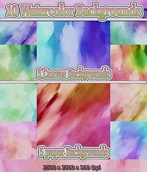 10 Watercolor Backgrounds on paper and canvas 2D Graphics nelmi