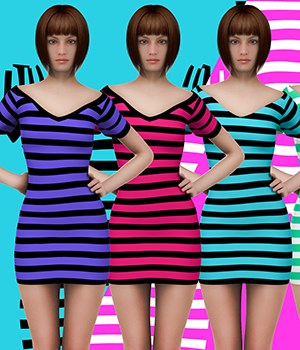 X7 Materials (horizontal stripes) For LBD by outoftouch 3D Figure Assets x7