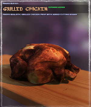 Photo Buffet: Grilled Chicken   Extended License 3D Models Gaming Extended Licenses ShaaraMuse3D