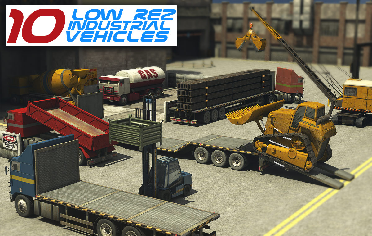 10 Low Rez Industrial Vehicles - Extended License by powerage