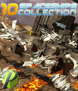 10 Spaceships Collection - Extended License 3D Models Extended Licenses powerage