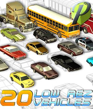 20 Low Rez Vehicles - Extended License 3D Models Extended Licenses powerage