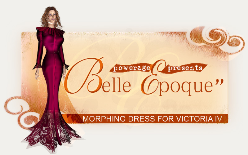 Belle Epoque morphing dress for V4 - Extended License by powerage