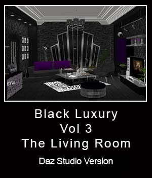 Black Luxury Vol 3: The Living Room - Daz Version 3D Figure Essentials 3D Models ICRDesign