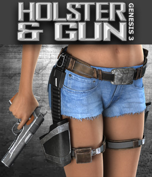 Exnem Holster & Gun for G3 3D Figure Assets exnem
