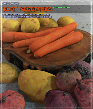 Photo Buffet: Root Vegetables - Extended License 3D Models Extended Licenses ShaaraMuse3D