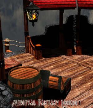 Medieval Fantasy Lookout Prop Set 3D Models RPublishing