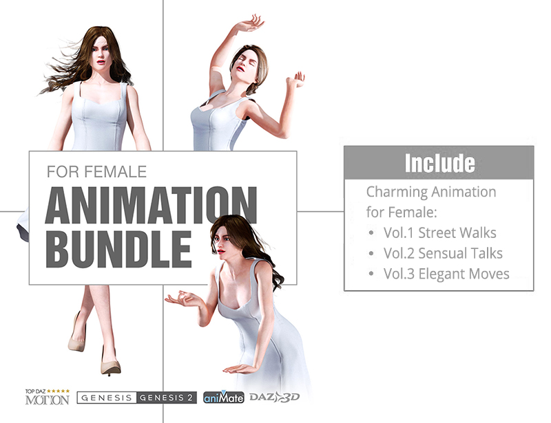 Charming Animation for Genesis Female Character Bundle 3D Figure