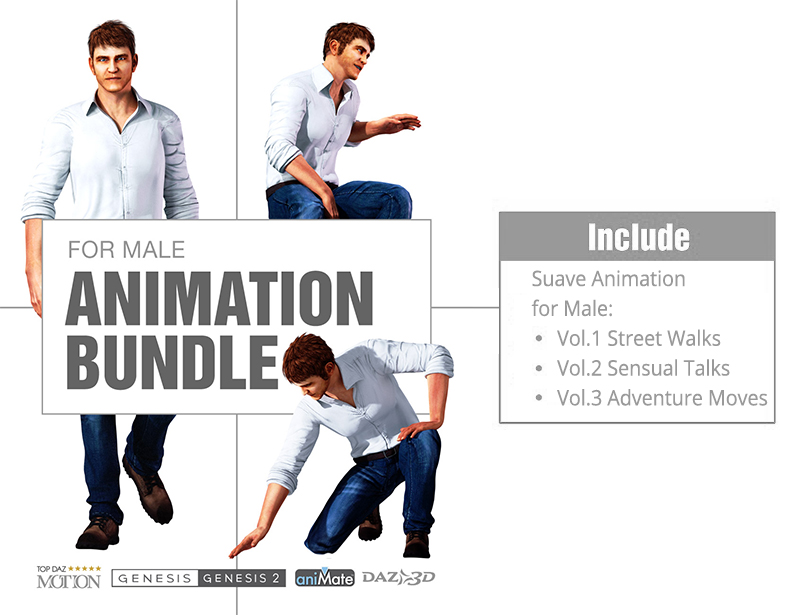 Suave Animation Bundle for Genesis Male Characters  by Reallusion