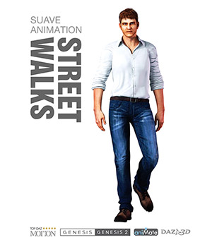 Street Walks for Genesis Male Characters 3D Figure Assets Reallusion Software - CC3 - iClone Reallusion