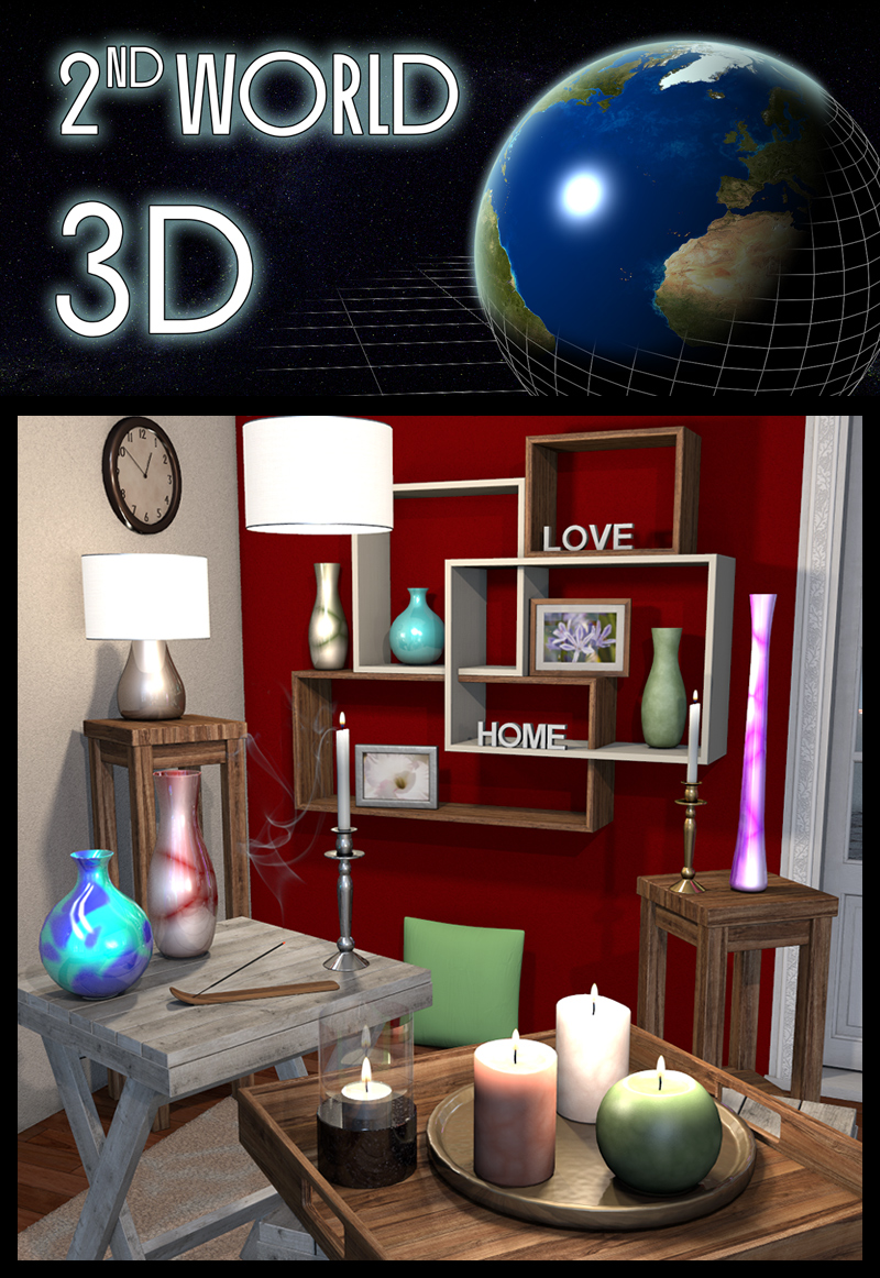 everyday items interior accessories 3d models 2nd world. Black Bedroom Furniture Sets. Home Design Ideas