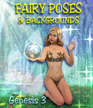FAIRY POSES and Backgrounds for Light Elf & G3F 2D Graphics 3D Figure Assets Mar3D